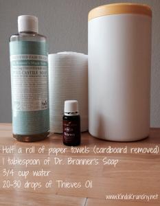 Homemade Sanitizing Wipes www.kindakrunchy.net